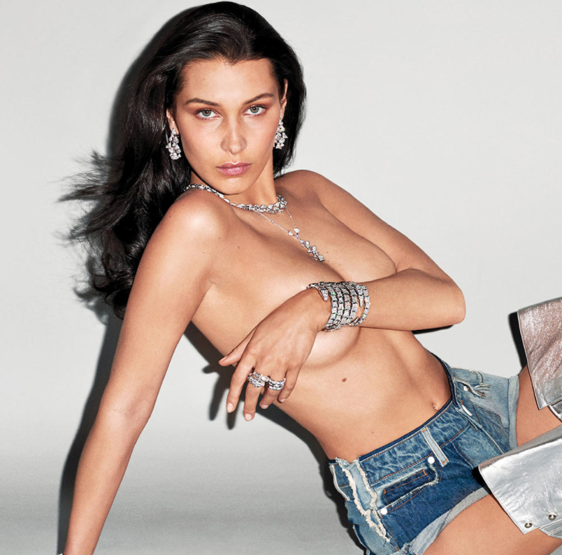 BELLA HADID SEXY AND BRALESS FOR V MAGAZINE