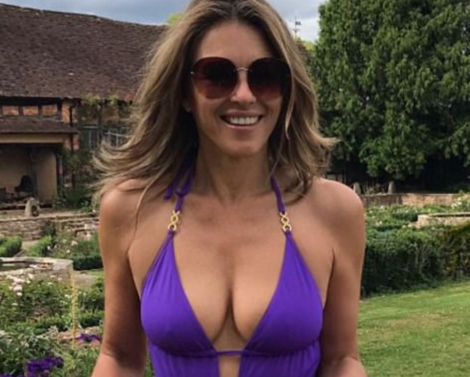 52 Year Old Elizabeth Hurley Gardens in Jaw-Dropping, Busty Swimsuits [PICS]