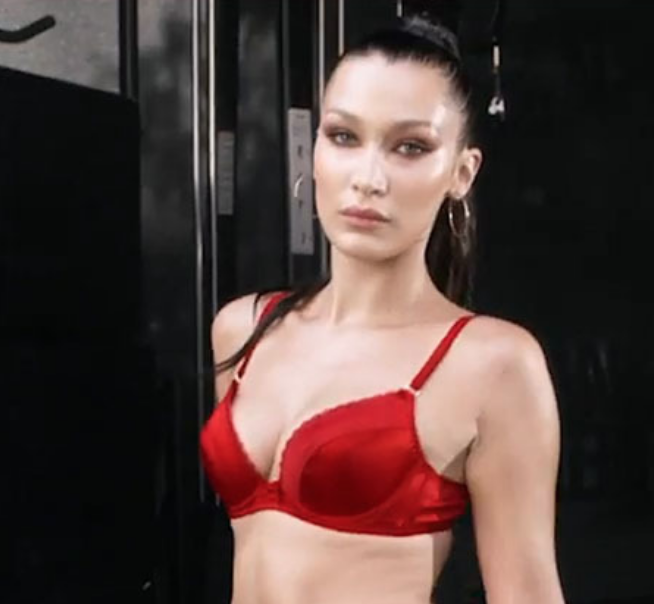 Bella Hadid Sweats in Red Agent Provocateur as She Works Out for the LOVE Advent Calendar [VIDEO]