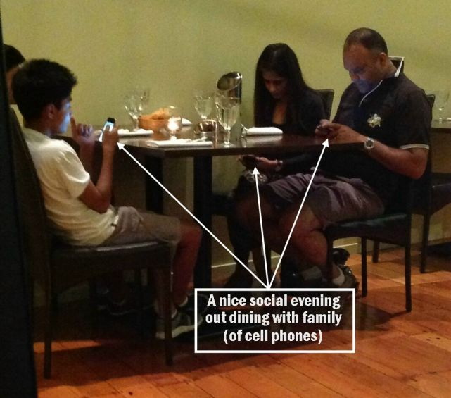 A third of us use our phones at dinner...put away the phone