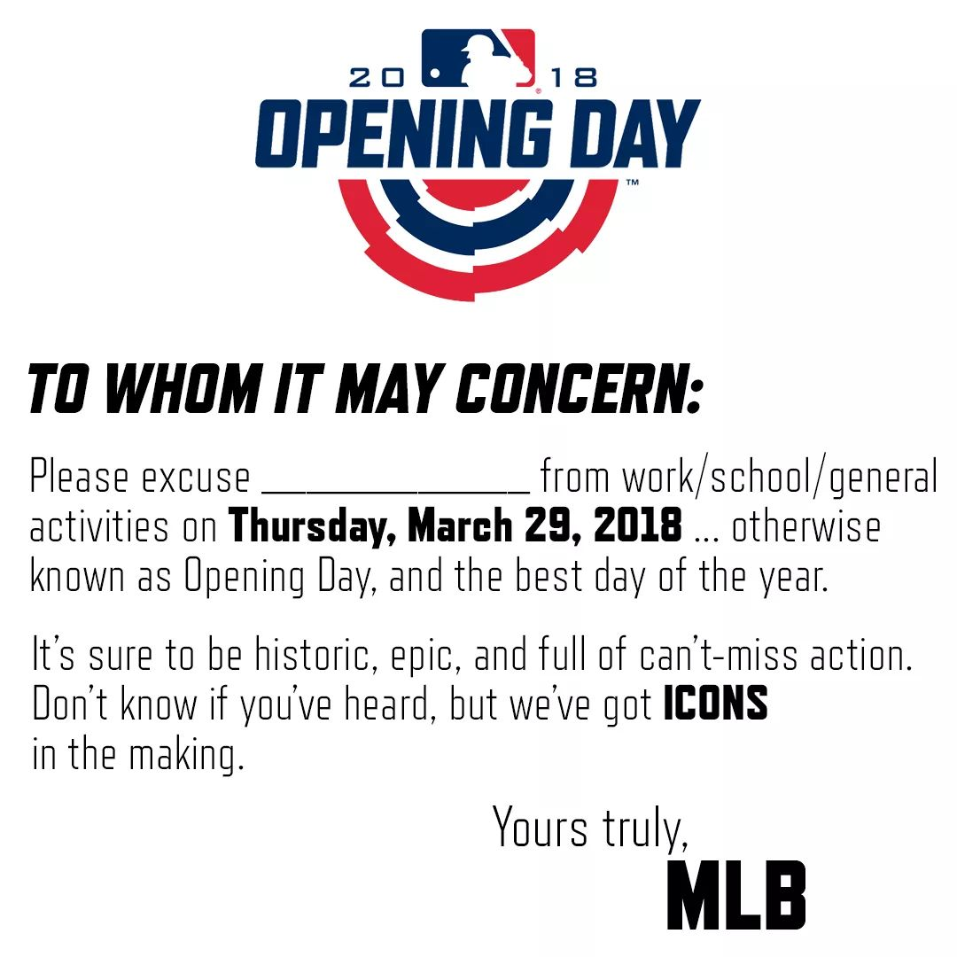 If you need a  excuse letter for tomorrow MLB has you covered