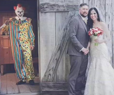 Groom Keeps Creepy Clown Wedding Photo a Secret for a Year [PICS & VIDEO]