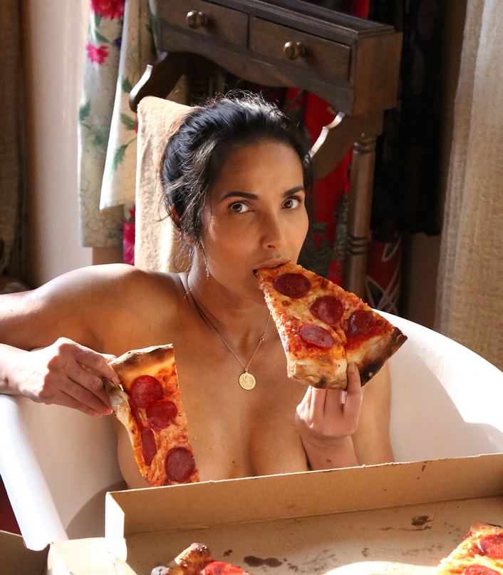 Padma Lakshmi Poses with Pizza Slices in a Bathtub for a Saucy Naked Photo Shoot [SFW PIC]