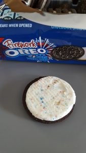 """Pop candy"" in the creme of the Firework Oreo"