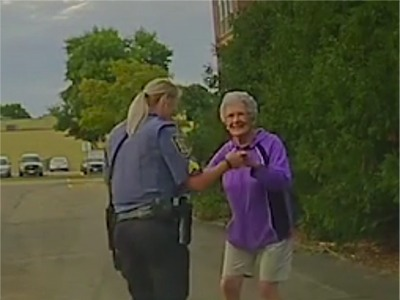 Police Officer Joins 92-Year-Old Woman For An Impromptu Parking Lot Dance