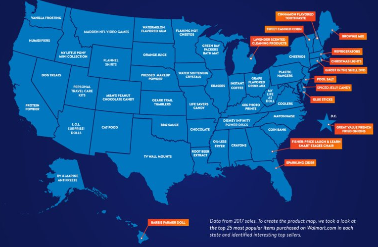Most Popular Item Sold at Walmart Online In Every State
