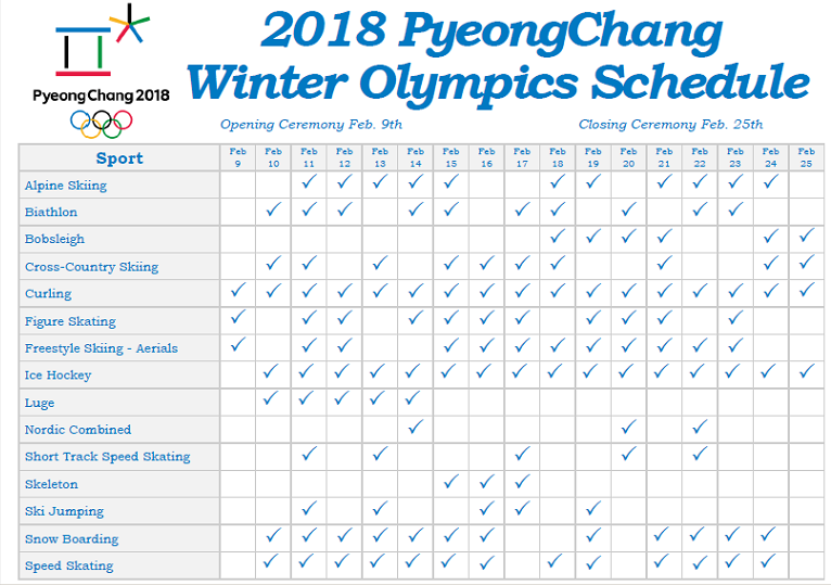 2018 Winter Olympics Competition & TV Coverage Schedule