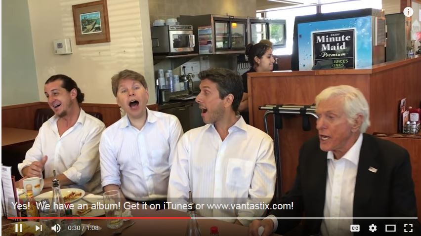Dick Van Dyke and the Vantastix surprise a crowd at Denny's in Santa Monica.