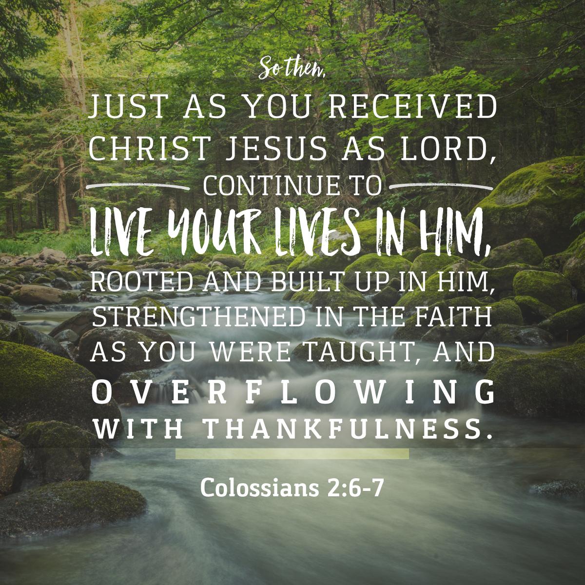 Colossians 2:6-7 Daily Verse