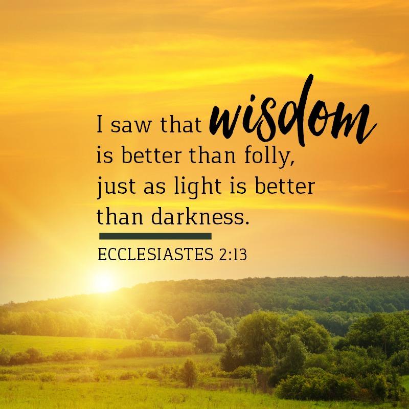 Daily Verse: Ecclesiastes 2:13