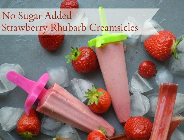 No Sugar Added Strawberry Rhubarb Creamsicles