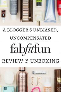 Review of fab fit fun subscription service. A blogger's unbiased unboxing of fab fit fun box.