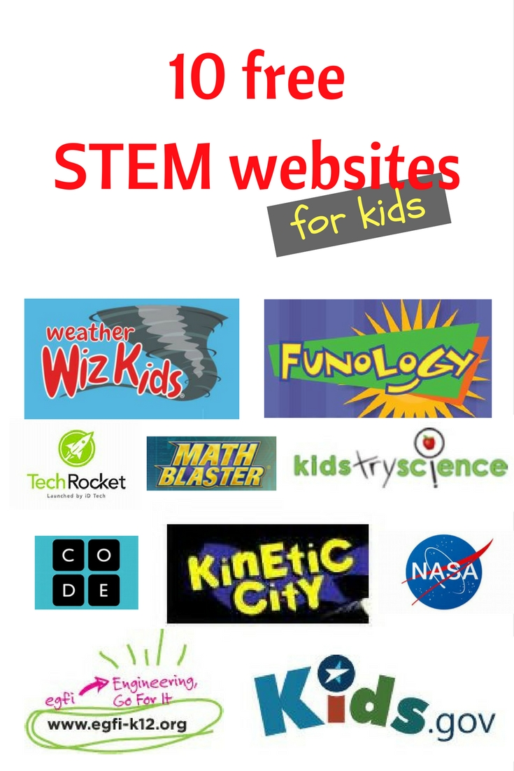 Free STEM websites for kids. STEM games, activites, and experiments for kids of all ages!