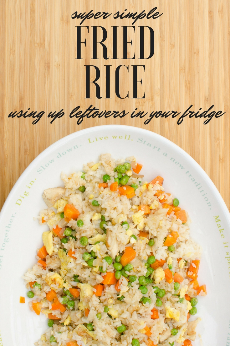 Easy fried rice recipe - use up leftover chicken, rice, and veggies!