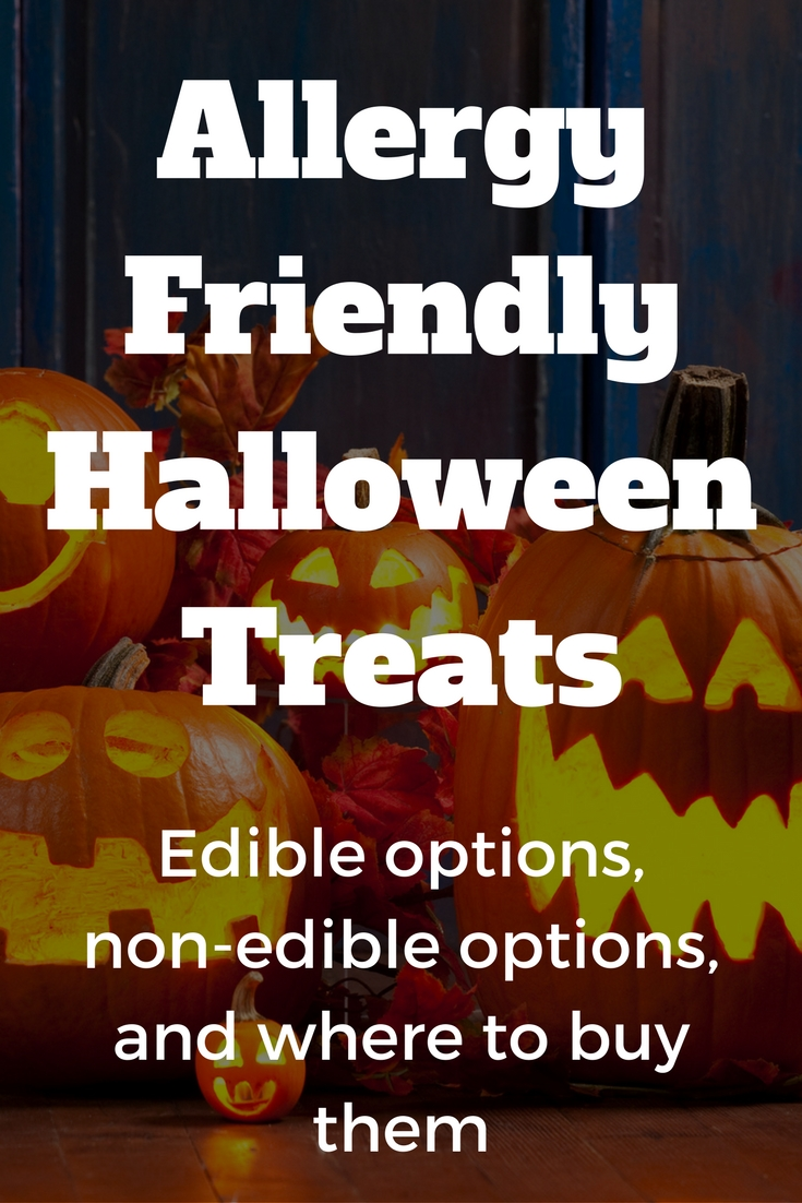 Allergy friendly halloween treats: candy, non-candy, where to buy. #allergyfriendly #tealpumpkin #halloween