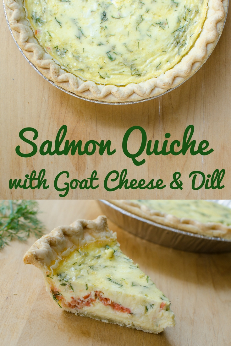 Salmon goat cheese and dill quiche recipe. #quiche