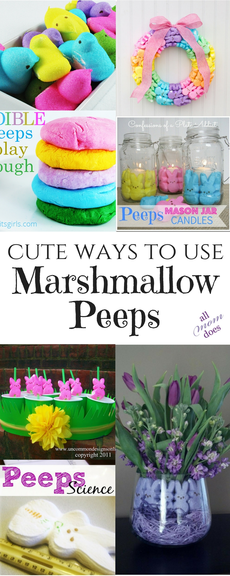Cute ideas for marshmallow peeps. Spring and Easter craft and decor ideas!