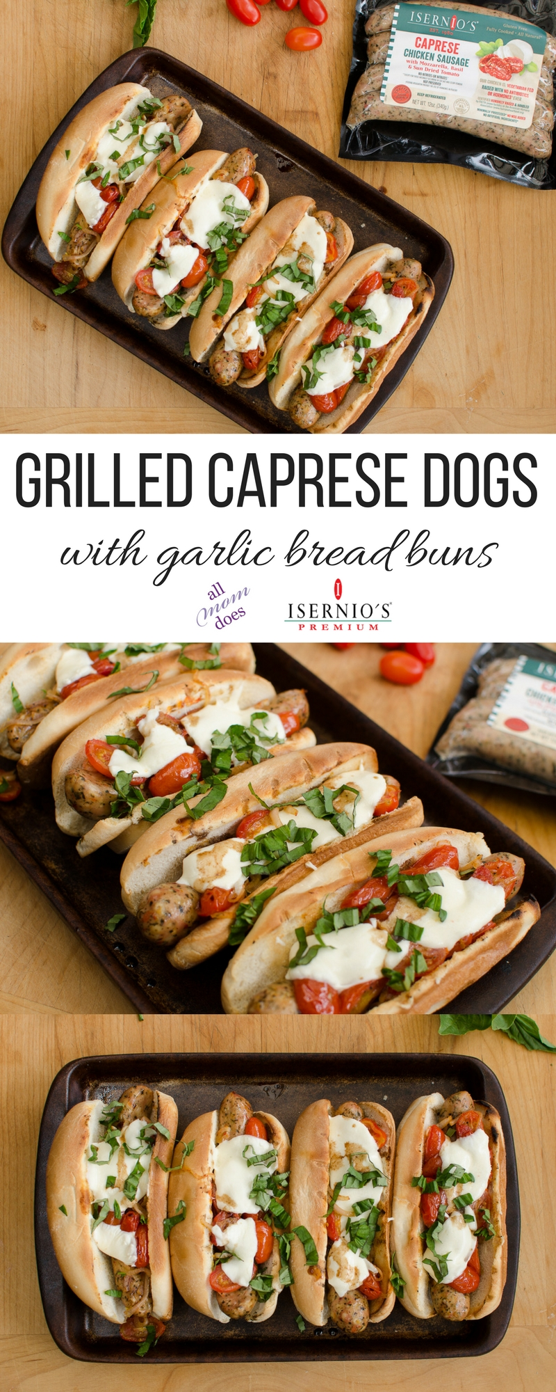 Grilled Caprese Dogs Recipe #hotdogs #chickensausage #caprese