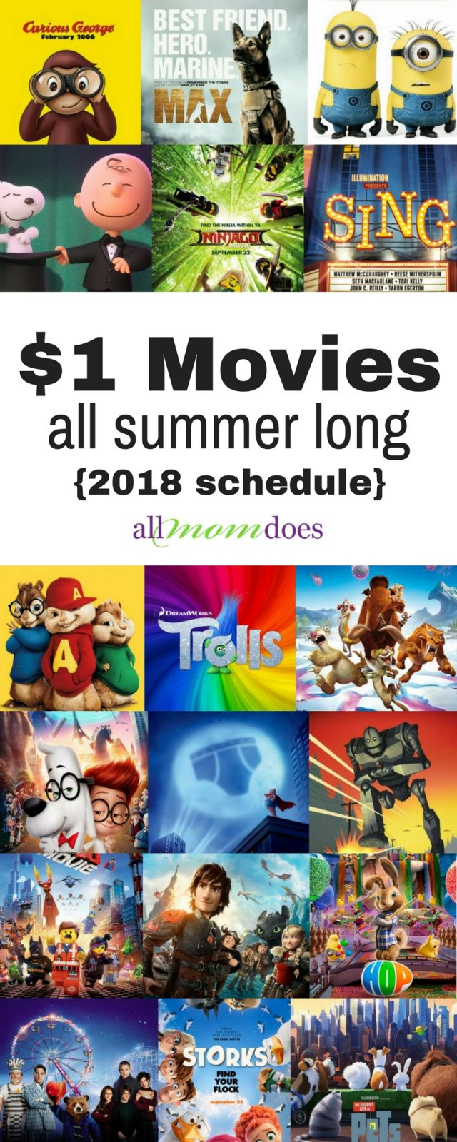 2018 Movie Schedule for the Regal Summer Movie Express - $1 movies all summer long! Cheap activity for kids! #movies #summerfun