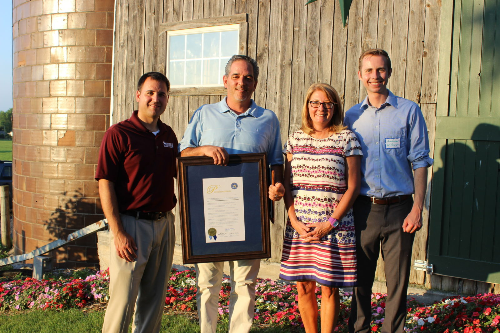 L to R (Jeff Shipley Chamber President, Jim Sinicropi Fingerlakes1 2017 Small Business of the Year, Senator Pam Helming and Congressman Tom Reed Representative Andrew Wilber)