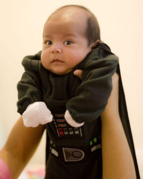 Darth sleeper! Baby falls asleep to dad's Darth Vader breathing.