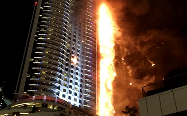 BREAKING NEWS: Hotel fire in Dubai right now. WOW. (VIDEO)