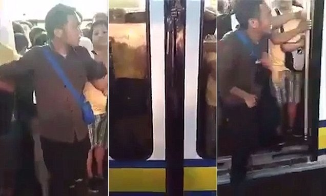Agonising moment man's privates get trapped in train door....