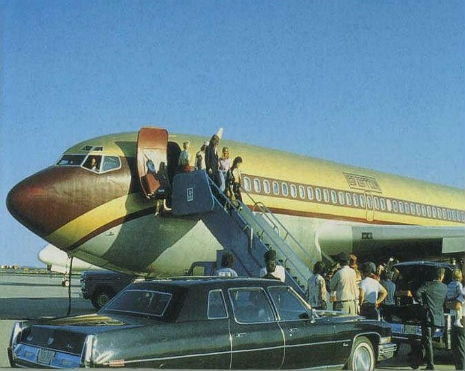 1973. Let's take a ride on Led Zeppelin's private jet