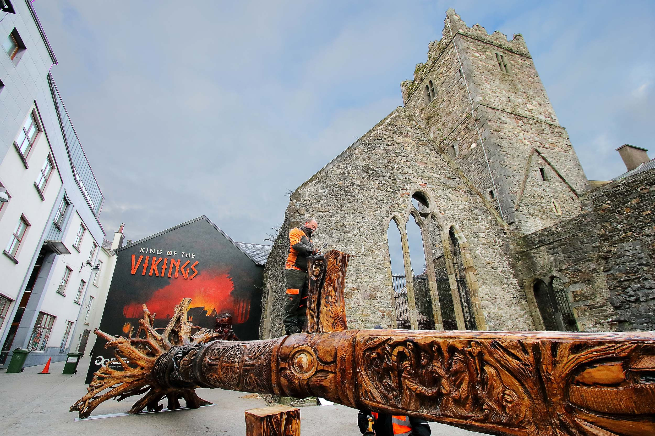 The new wooden sword sculpture in Waterford City is now in place.