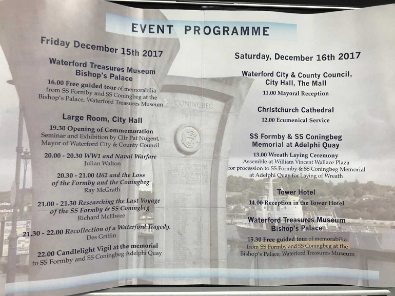 Centenary of steamship tragedy commemorated this weekend in Waterford