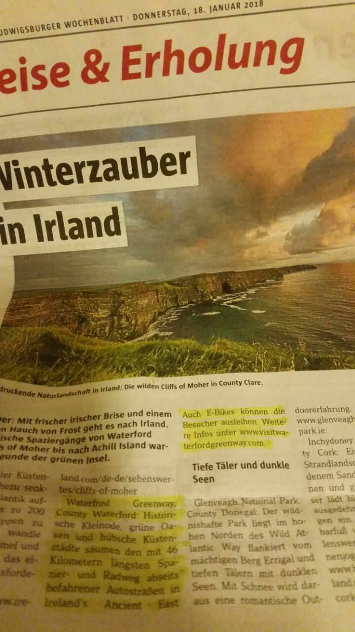 The Waterford Greenway has garnered press attention in Germany!
