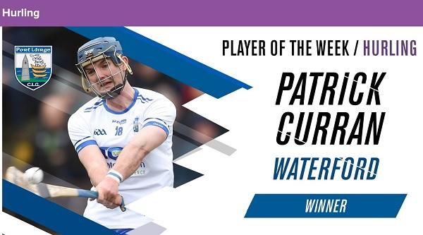 Patrick Curran named Hurler of the Week