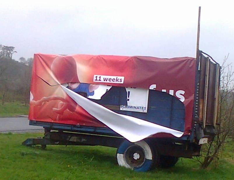Pro-life billboard is damaged in Kilmeaden in County Waterford.