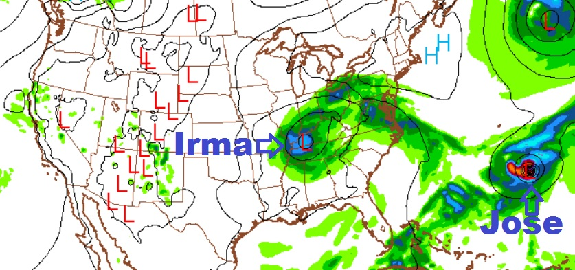 Computer forecast image from Thursday, September 7, 2017 for Tuesday, September 12, 2017