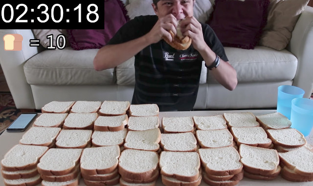 Timelapse: Man Eats 100 Slices Of White Bread In 39 Minutes