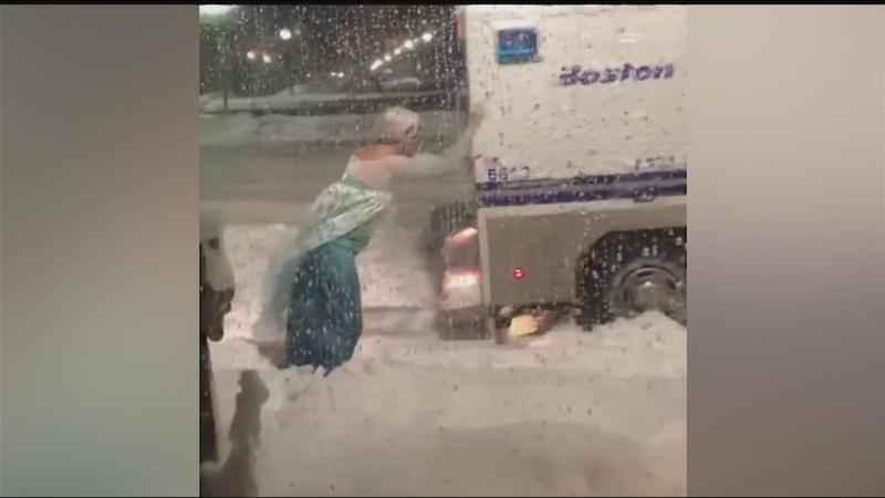 Grown Man In Elsa Costume Trying To Push Van In Snow!
