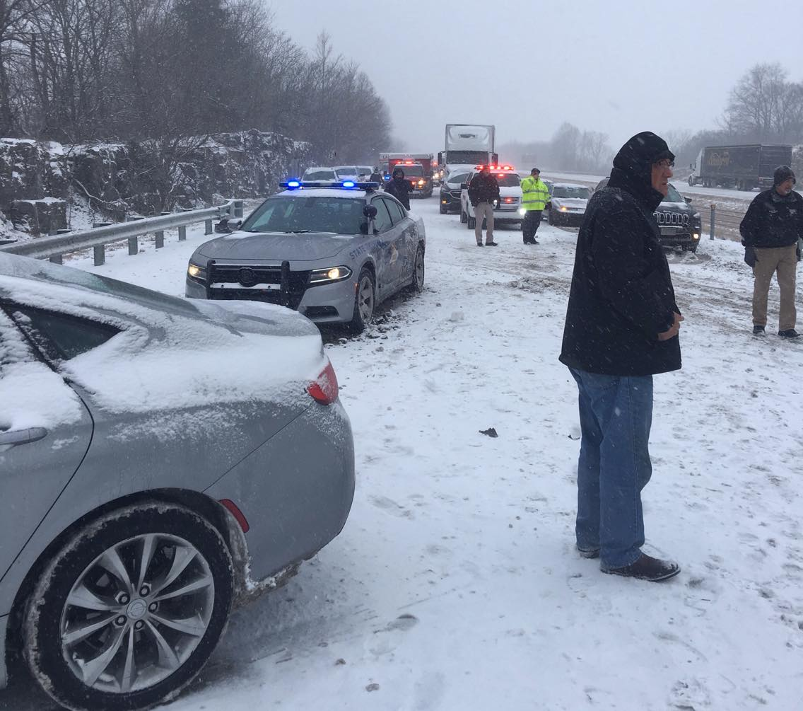 Two hurt in 10-vehicle pileup