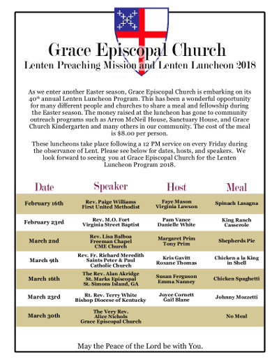 Grace Episcopal Church Lenton Preaching Mission & Luncheon