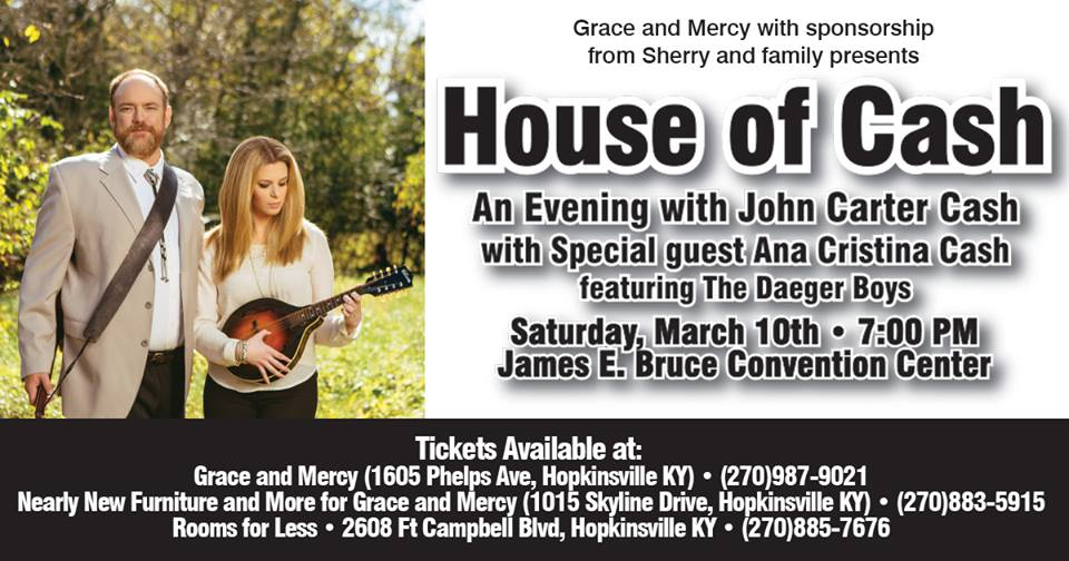 Son of Johnny Cash to perform for Grace and Mercy