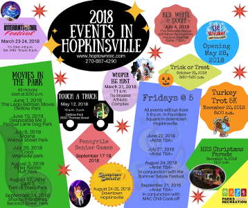 Hopkinsville Parks & Rec 2018 Events