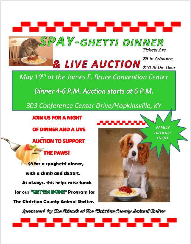 Animal Shelter Spayghetti Dinner and Auction coming up