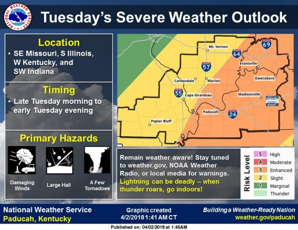 Severe weather possible Tuesday