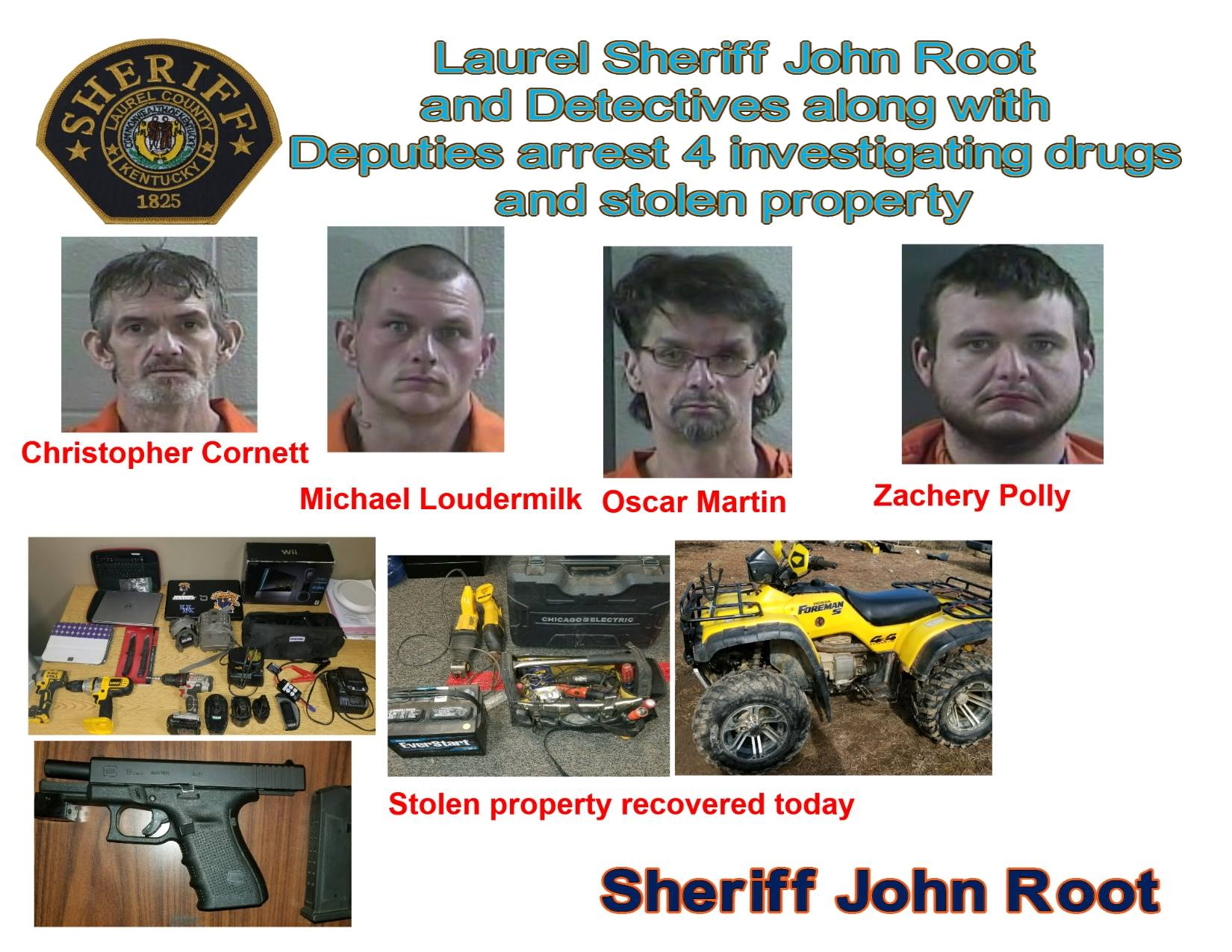 Four Arrested In Laurel County On Drug And Stolen Property Charges