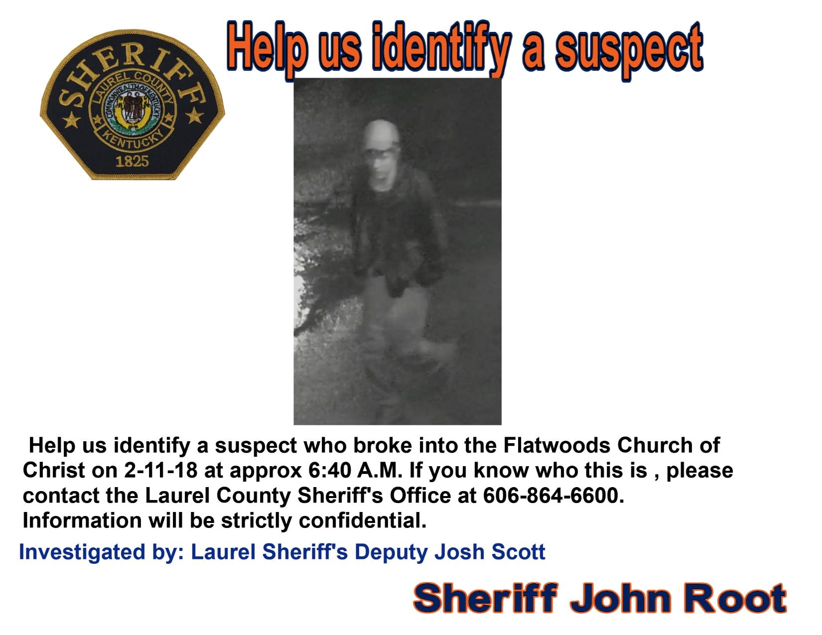 Laurel County Police Looking For Church Break In Suspect