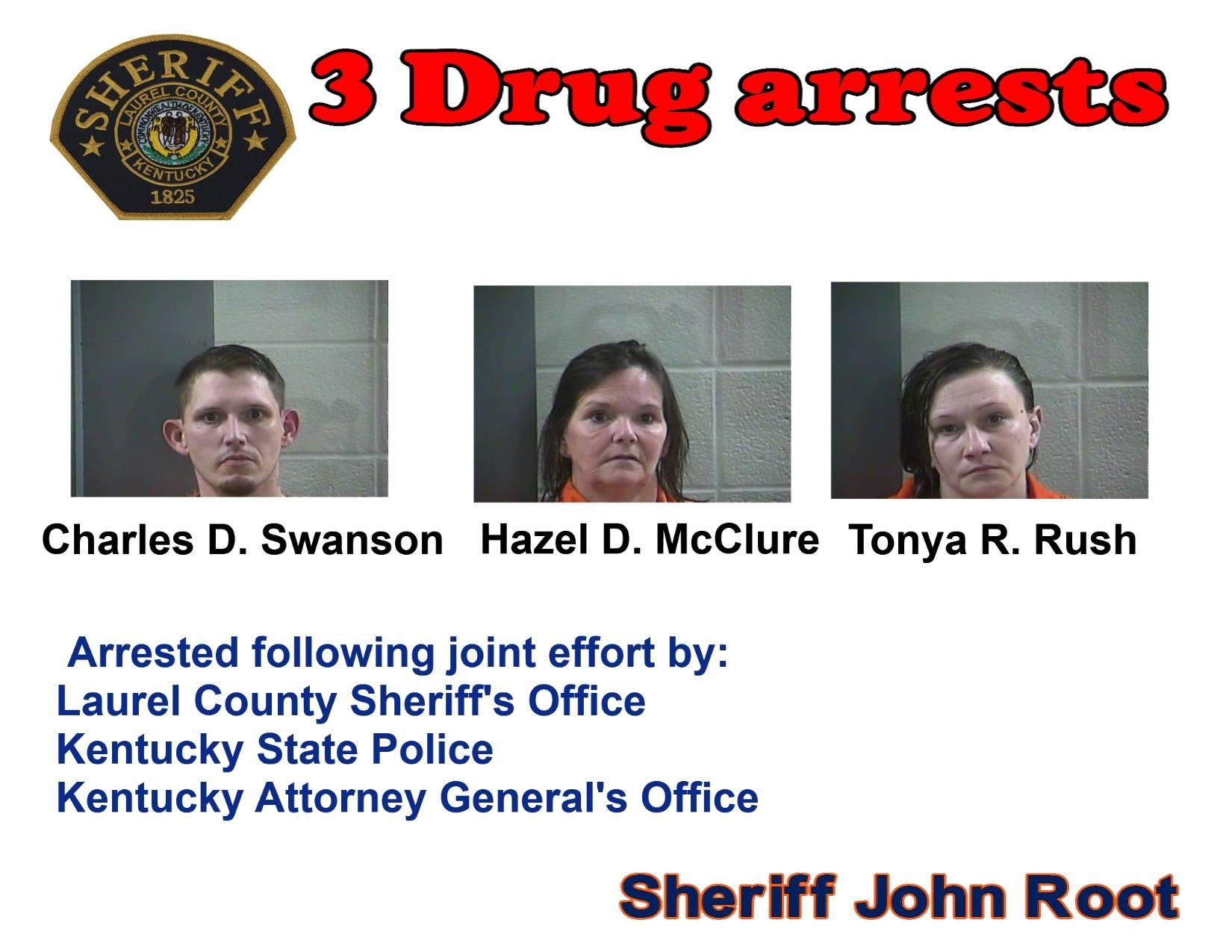 Laurel County Police Arrest 3 People For Drug Trafficking
