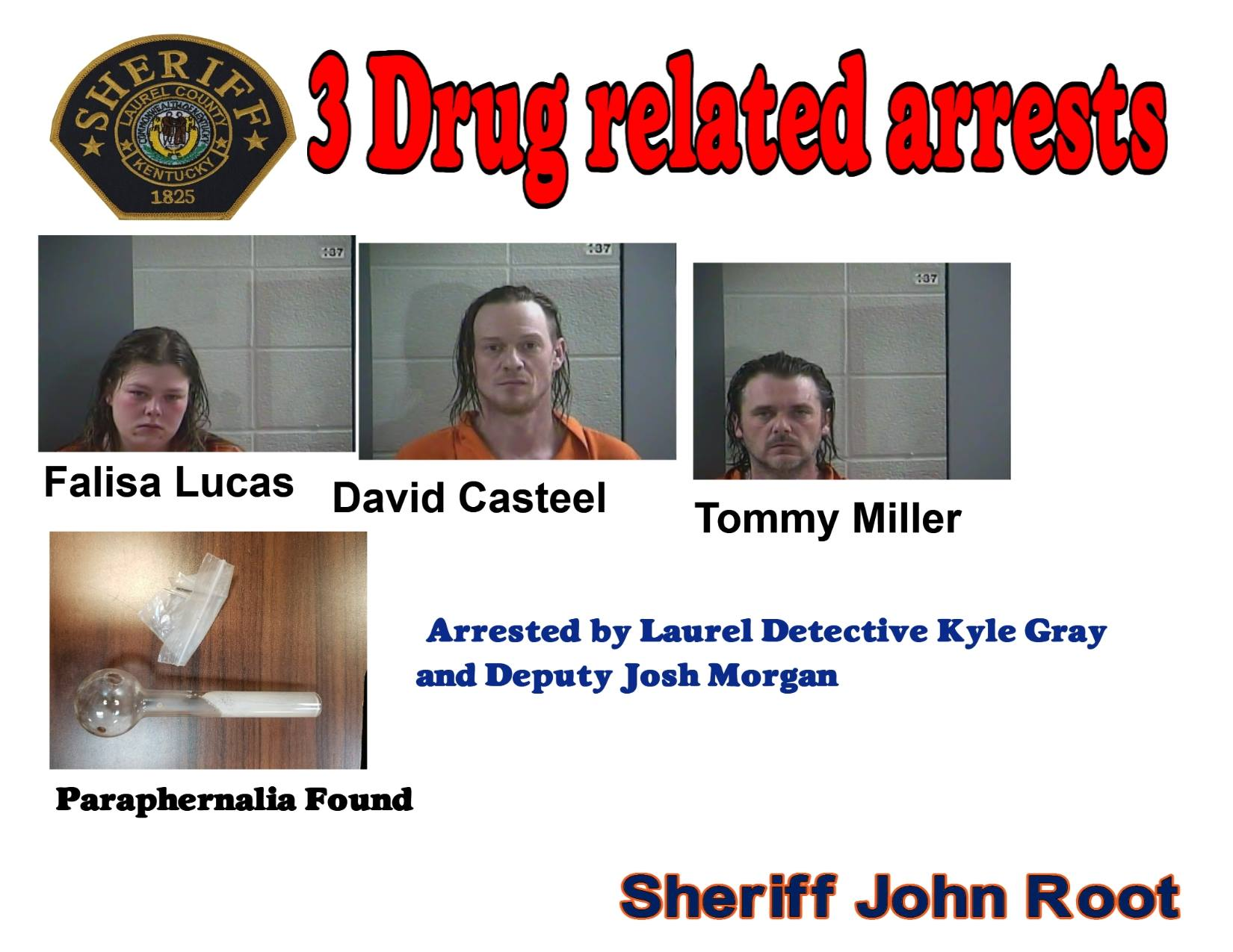 Three People Arrested On Drug Related Charges During Child Welfare Check