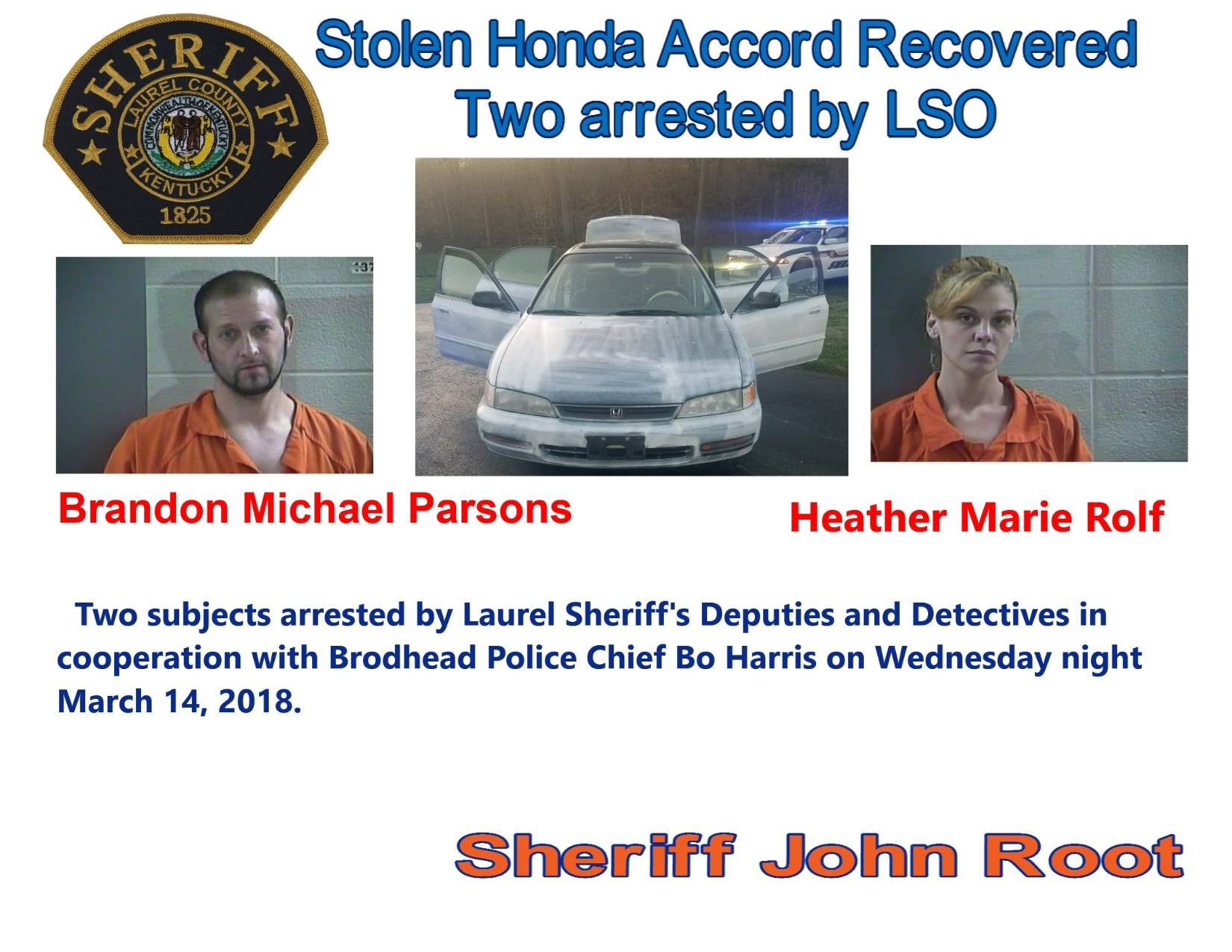 Laurel County And Brodhead Police Team Up To Recover Stolen Car And Arrest Two