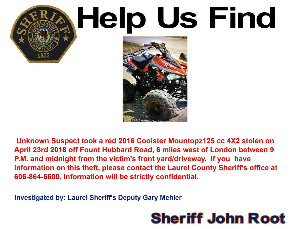Laurel County Police Looking For Stolen ATV And Thief