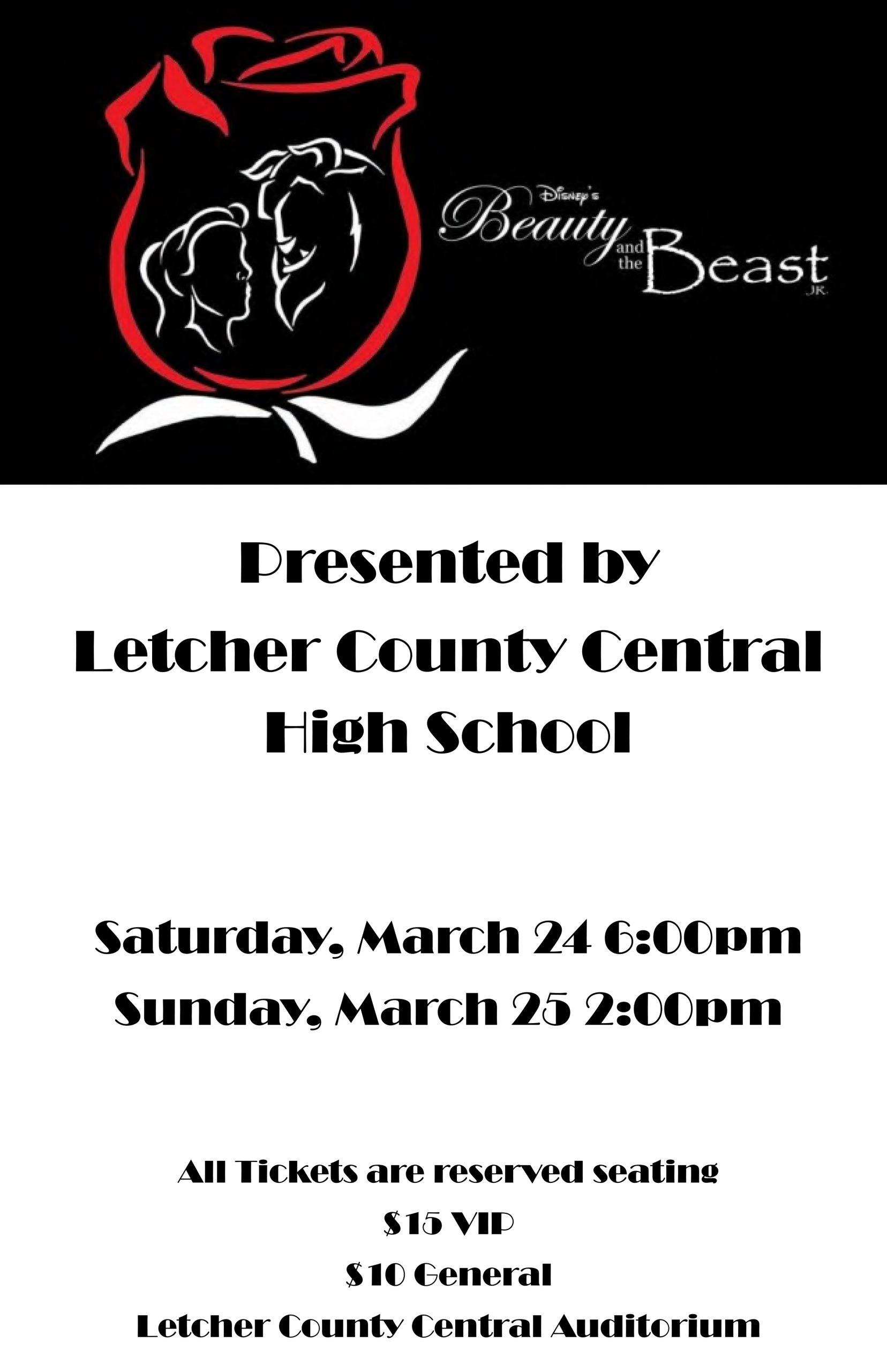 Letcher County Central Drama presents Beauty and the Beast March 24-25