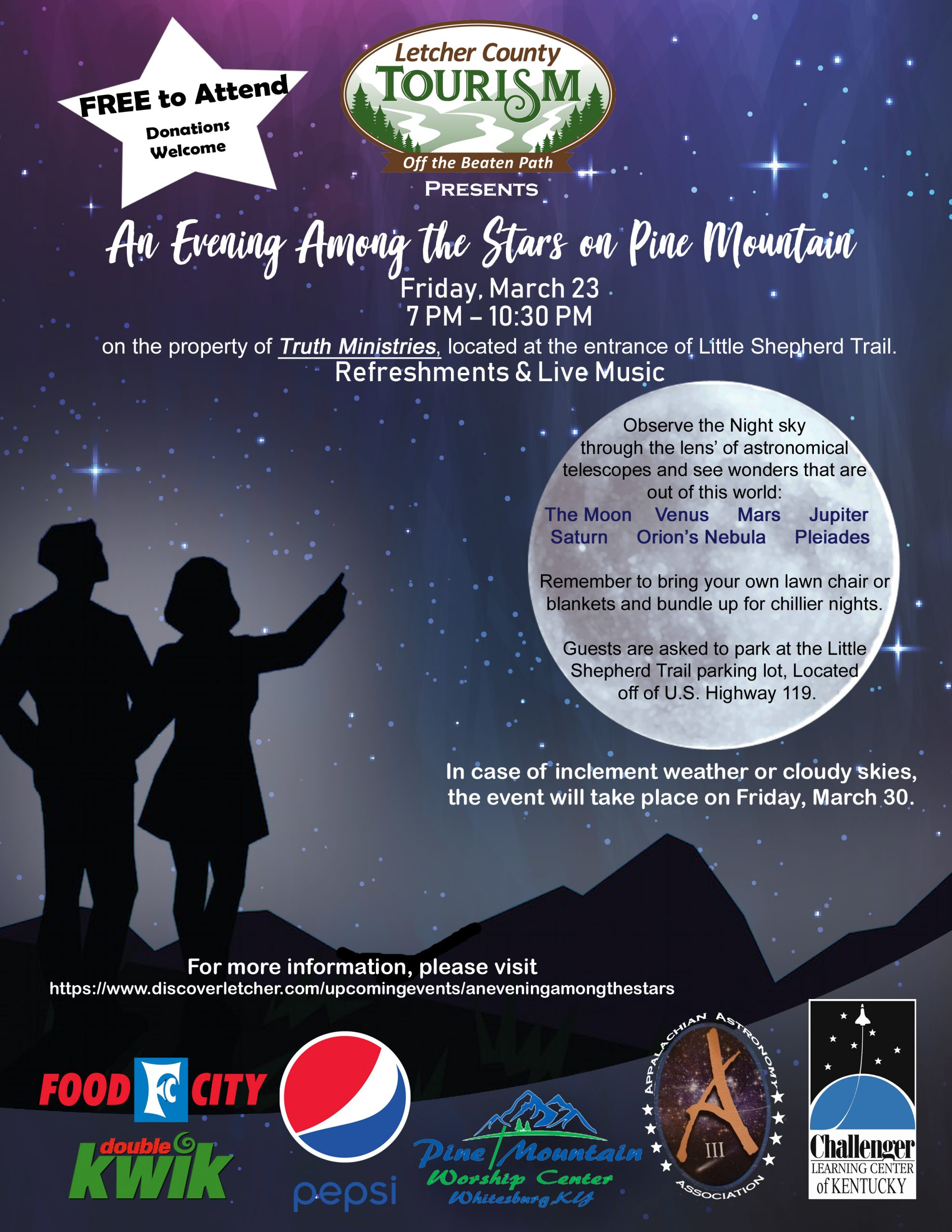 "Letcher County Tourism invites you to ""Experience an Evening Among the Stars on Pine Mountain"" on March 23rd"
